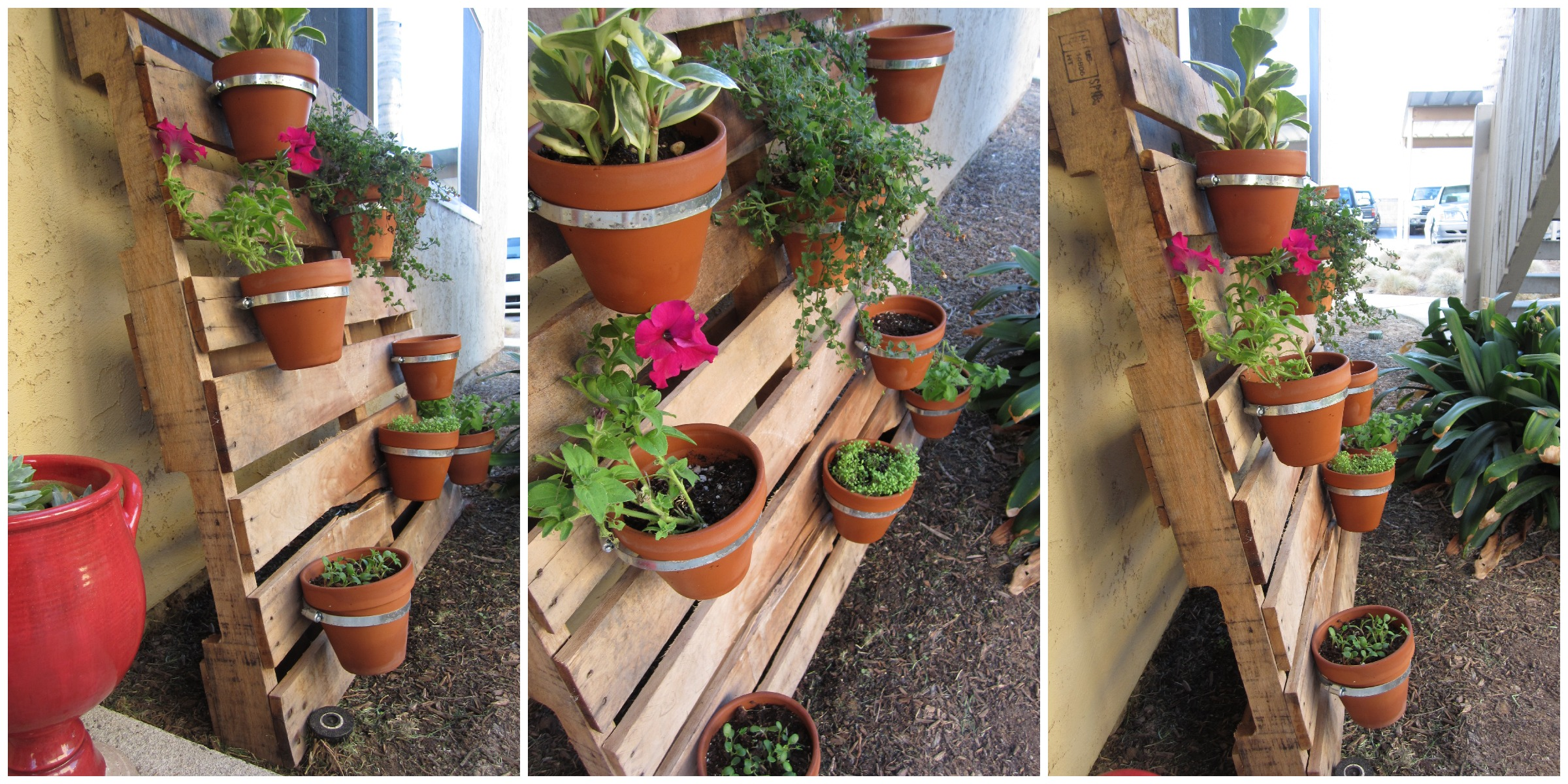 Diy pallet planter this abundant life for Jardin exterieur